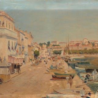 Gaston ROULLET, Gaston ROULLET Ars, 1847 - Paris, 1925 Vue du port de Cannes
