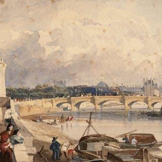 Ecole anglaise, 1820, Ecole anglaise, 1820 Vue des quais et du pont