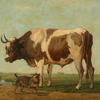 Jan KOBELL, Jan KOBELL Rotterdam, 1800 - 1838 Chien et taureau dans un champ