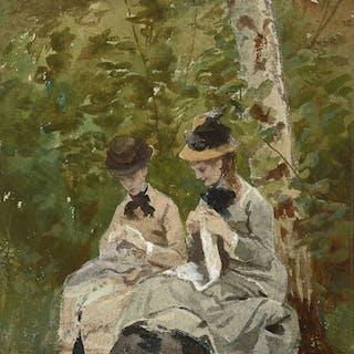 Ecole française, 1878, Ecole française, 1878 Deux élégantes dans un sous-bois