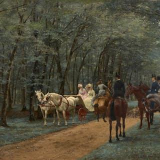 Jean-Richard GOUBIE, Jean-Richard GOUBIE Paris, 1842 - 1899 La promenade