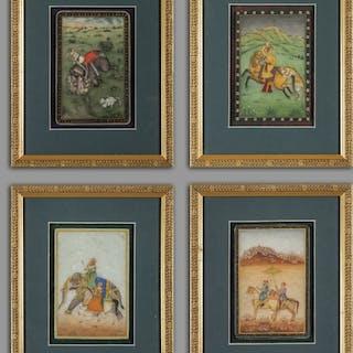 """""""Scene di caccia"""" quattro dipinti indiani su marmo cm"""