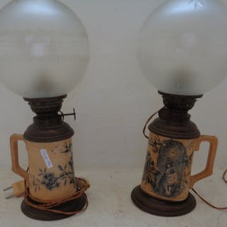Coppia di boccali inglesi adattati a lampada