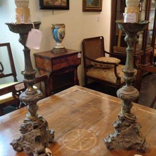 Coppia di candelieri Luigi XIV in lamierino