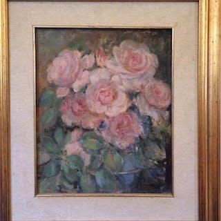 LINDA FERRARIO (1876-1956) Rose olio su tavoletta cm.27x32 f.to b