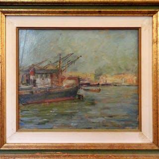 LINDA FERRARIO (1876-1956) Il porto di Genova olio su...