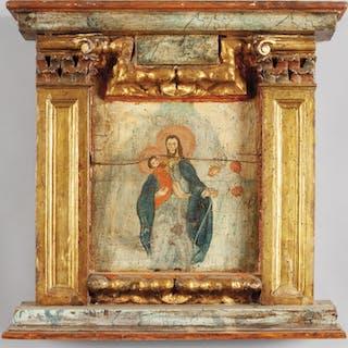 """San Giuseppe ed il Bambino"" olio su tavola sec.XVII"