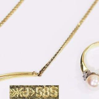 Collier und Ring mit weißer Perle.