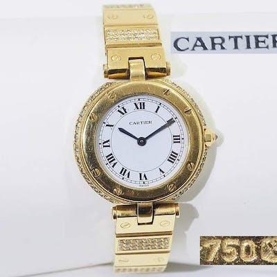 Cartier-Damenarmbanduhr. Modell Santos/Vendome in 750er Gelbgold