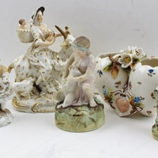 A BLOOR DERBY C. 1830 PORCELAIN FIGURE GROUP, The Tailors Wife, modelled