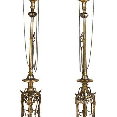 Pair of Important Neo-Grec Gilt & Patinated Bronze Mixed Metal Torcheres