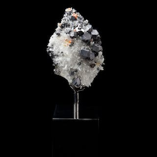 Mounted Galena and Quartz formation