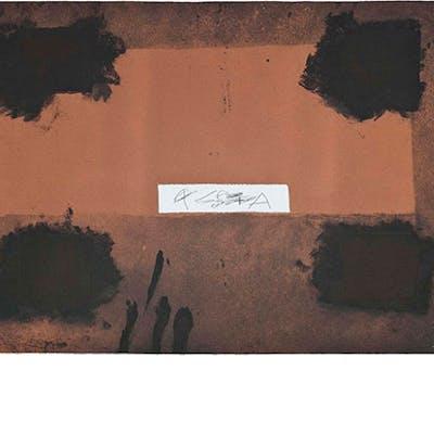 Antoni Tàpies - Grabado al Aguatinta con collage y carborundum en