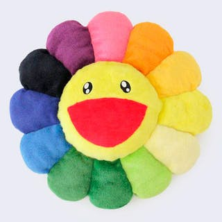"Takashi Murakami - Cojín oficial Kaikai Kiki Co., Ltd ""Flower Cushion Rainbow"""