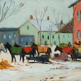 Market in Winter, Berthierville, Quebec - Kathleen Moir Morris