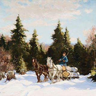 A Team of Horses Hauling Logs - Frederick Simpson Coburn