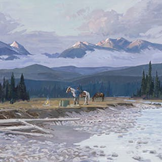 Mountain Landscape, October Sunrise near Golden, BC - Peter Ewart