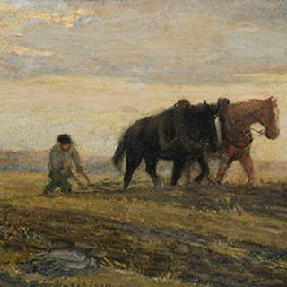 Ploughing the Fields - Frederick William Hutchison