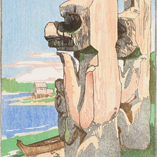 Siwash House Posts, Tsatsisnukomi, British Columbia - Walter Joseph