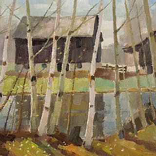Speyside Farm in Spring - Tom (Thomas) Keith Roberts