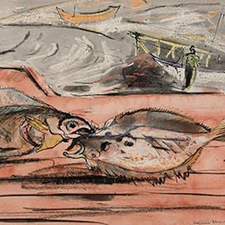Barques et poissons - Henri Leopold Masson