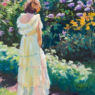 Girl in Garden - Ron Hedrick