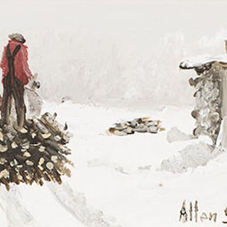 Hauling a Load of Wood - Allen Sapp
