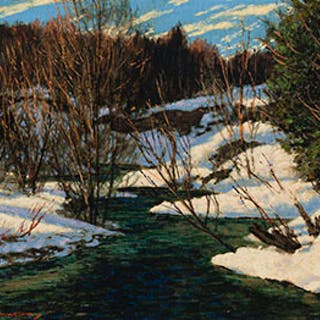 Stream in Winter - Frank Hans (Franz) Johnston