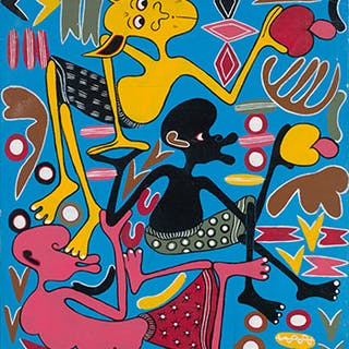 Three Figures - Pink, Yellow & Black - George Lilanga
