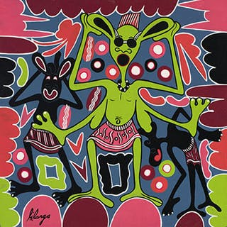 Green Figure with Four Arms - George Lilanga