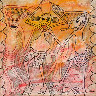 Three Dancing Figures in Orange and Red - George Lilanga