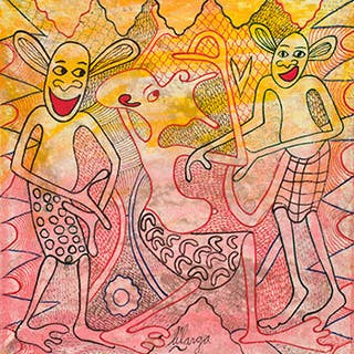 Three Dancing Figures in Orange and Red 2 - George Lilanga