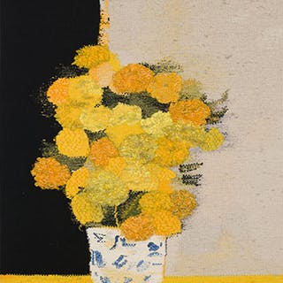 Bouquet de roses d'lude au vase de Chine et à la table jaune - Bernard Cathelin