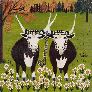 Two Oxen with Daisies - Maud Lewis
