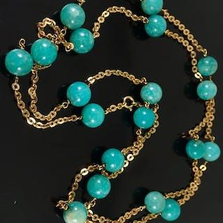 An 18ct gold gem set necklace approx 53 grams