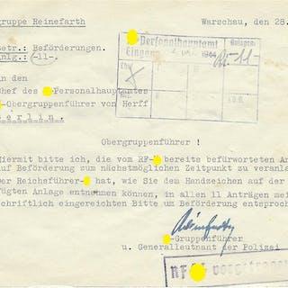 Schriftstück Waffen-SS Kampfgruppe Reinefarth mit Autografen von RK-