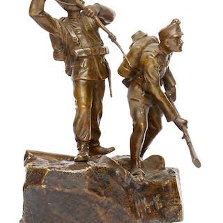 Patriotische Bronzefigur zweier kuk. Soldaten Erster Weltkrieg