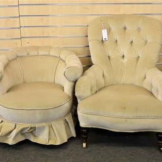 A 1920's Victorian button back long armchair