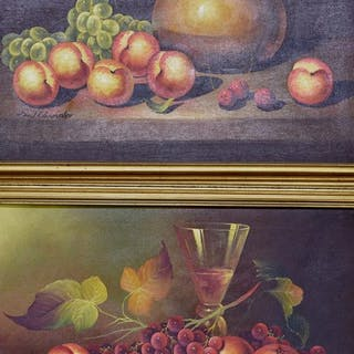 A pair of signed still life paintings of fruit in gilt frames (2)