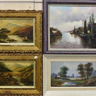 Four framed oil paintings of various landscapes (4)