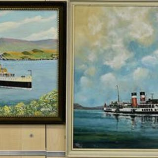 Two framed oil on canvas paintings of boats, one signed Phillip Ladd