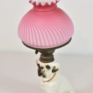 A Staffordshire pottery Bull Terrier dog converted to oil lamp