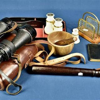 Two pairs of binoculars, policemans truncheon, wooden pestle and mortar