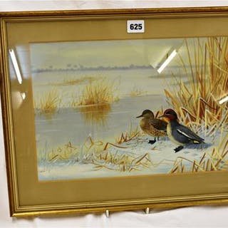 A Phillip Rickman watercolour and bodycolour of a pair of ducks in