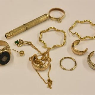 A 9ct gold ring together with 9ct gold earrings necklace etc for scrap