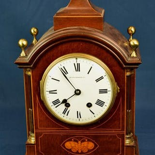 An Edwardian mahogany and marquetry bracket clock by Vincenti and Cie