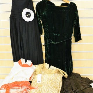 A quantity of vintage evening dresses consisting of a full length