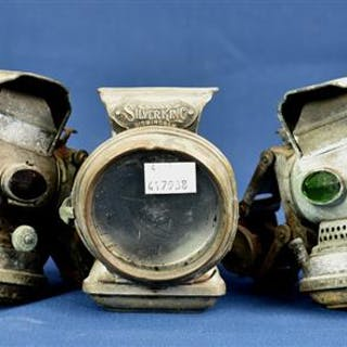 Three Lucas Ltd Silver King Birmingham bicycle lamps (3)