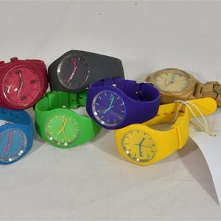 Five colourful silicone watches by ICE, together with a similar Puma