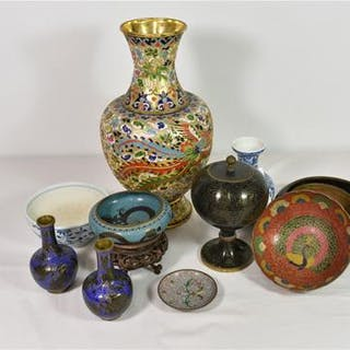 A collection of vintage Chinese cloisonné vases